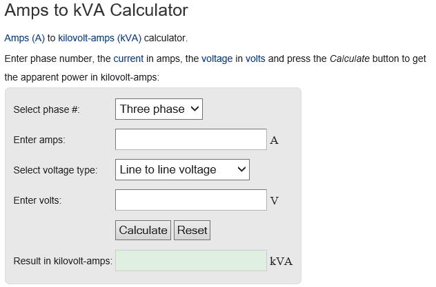 kva calculator Malaysia