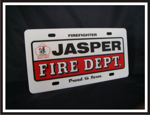 Full Size Firefighter Vehicle Licence Plate - Jasper - Traditional with Logo (NG-1034F)