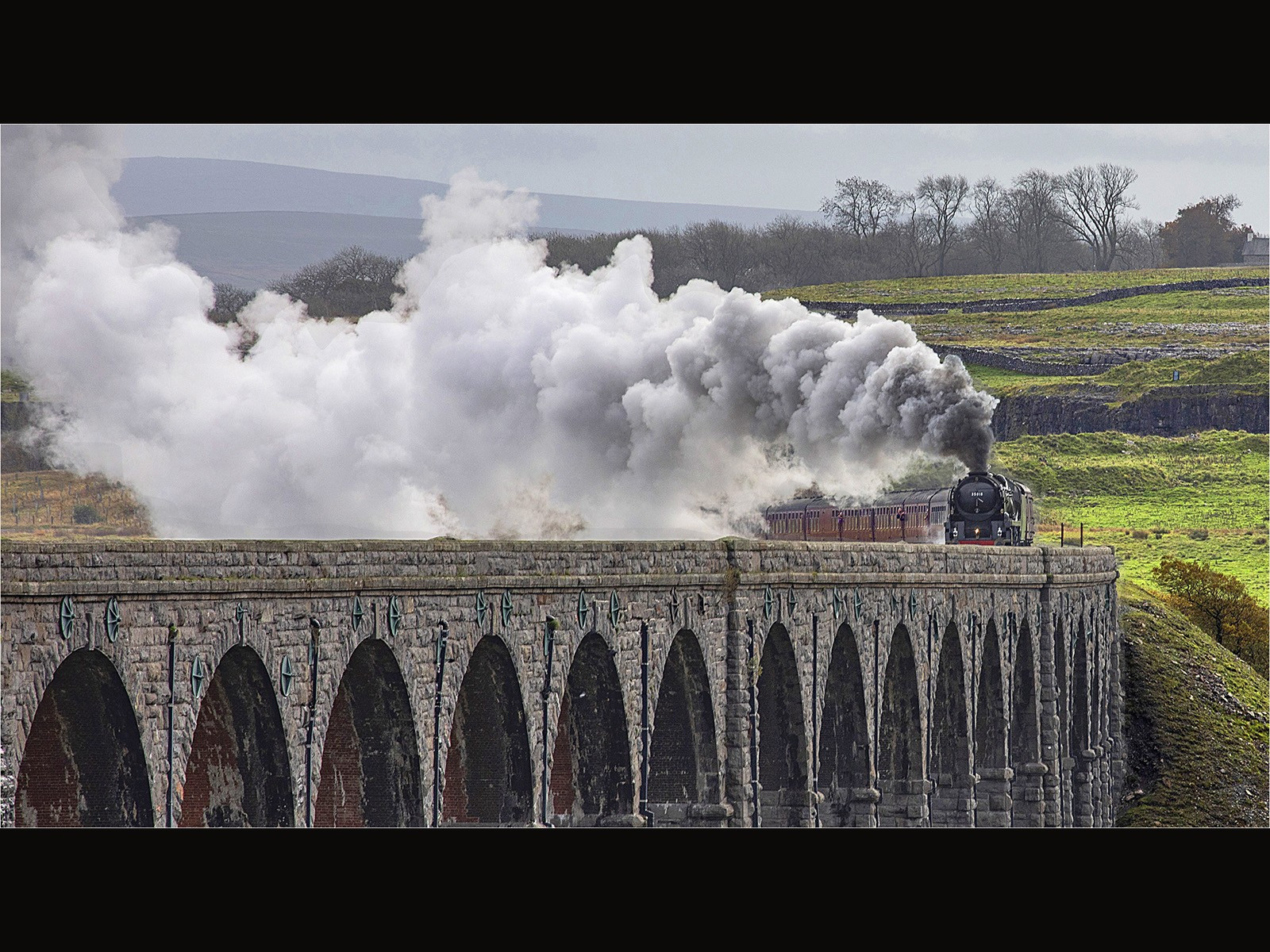 Steam over the Ribblehead Viaduct