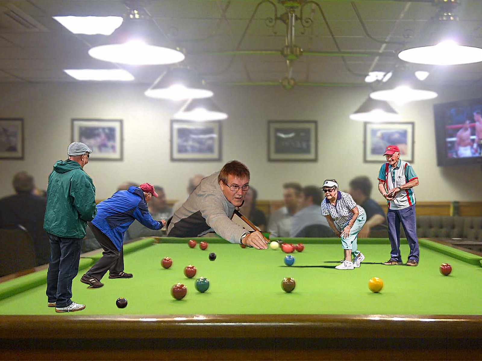 Snooker bowls collage