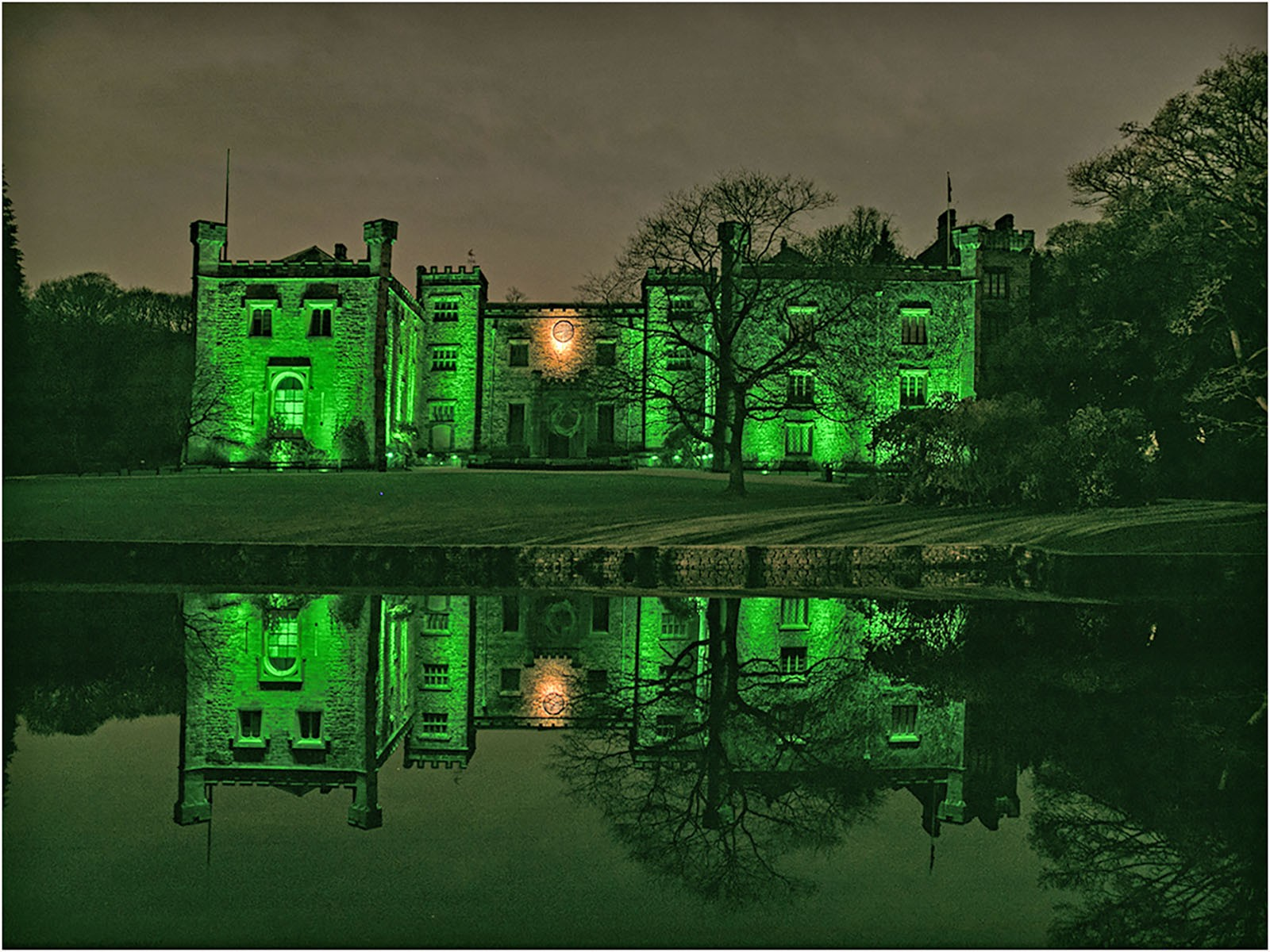 Townley Hall by night