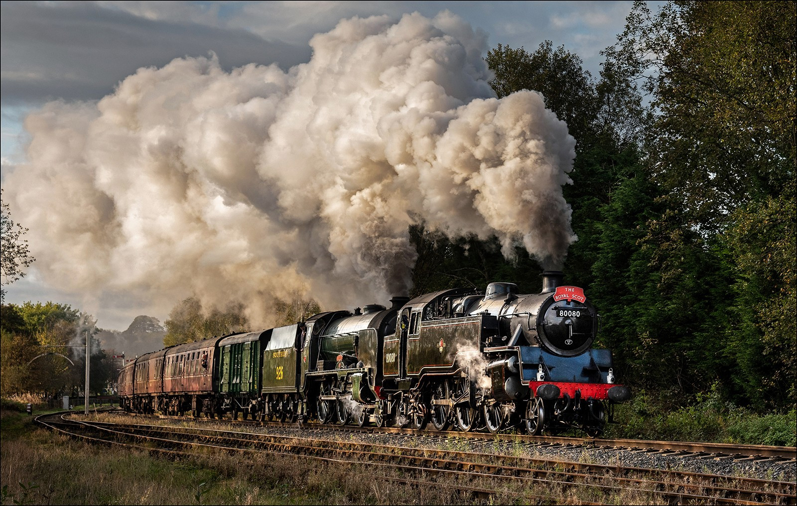 80080 Double heads with Repton. East Lancs Steam Gala.