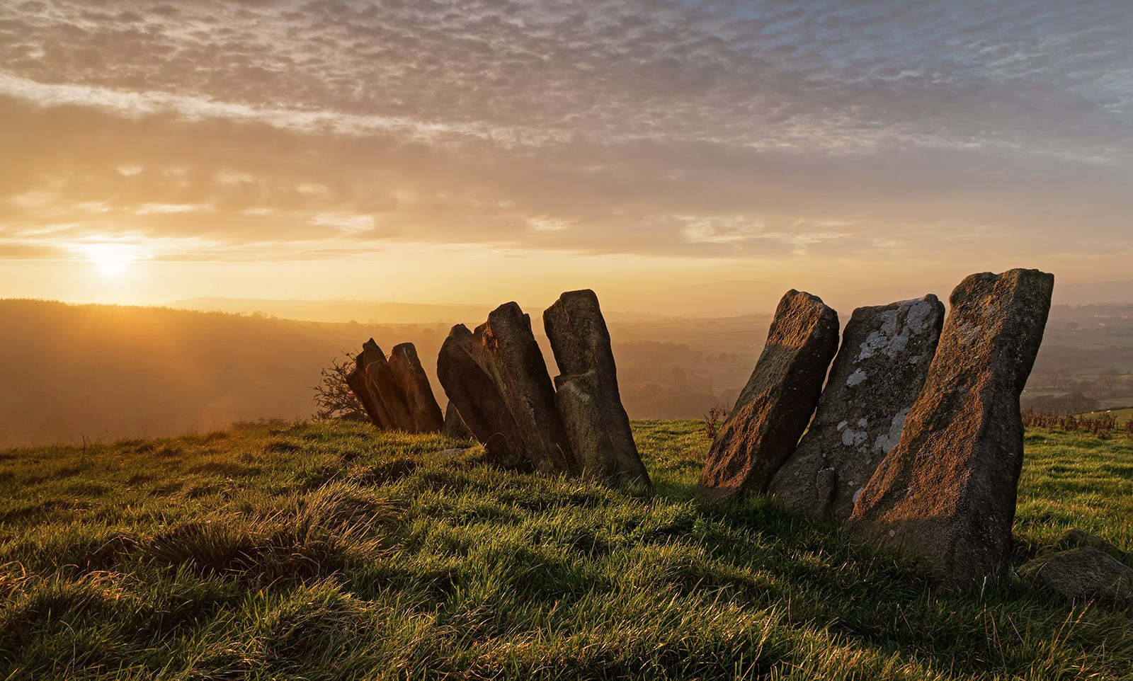 Misty Sunset on the Ancient Vaccary stones . Near Wycoller