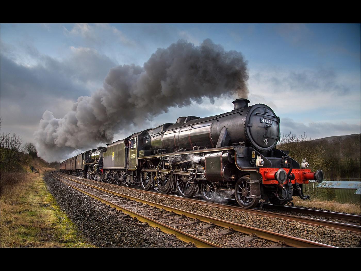 44871 steams past Langcliffe
