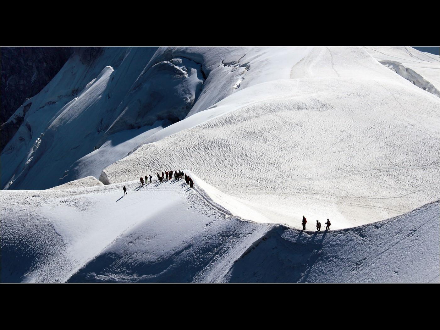 Alpinists making tracks above Chamonix