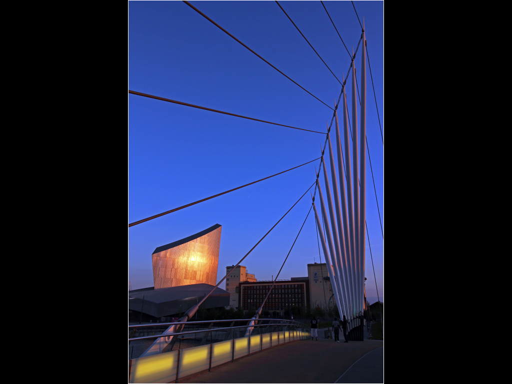 Evening Light Showing Bridge Detail, Salford Quays