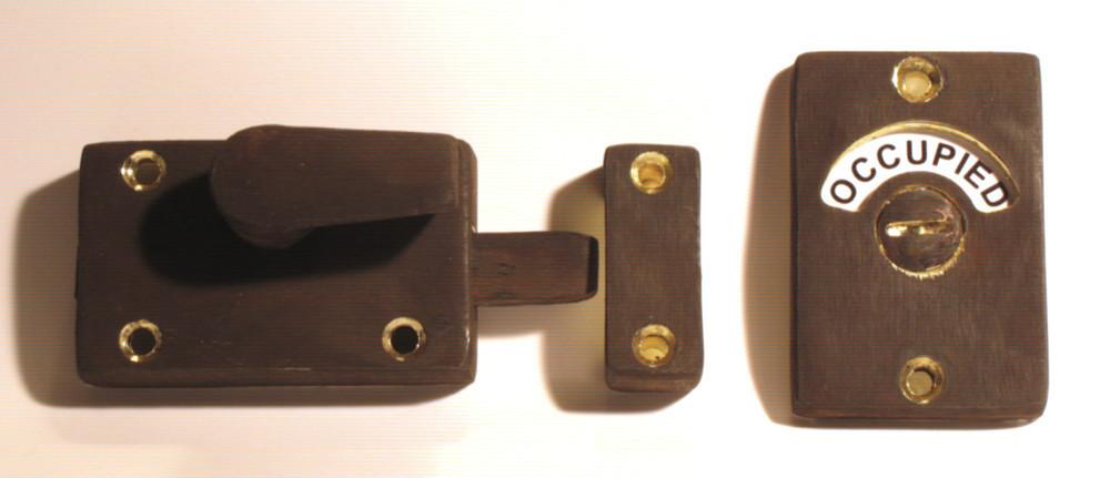 antique brass bathroom lock, distressed brass occupied