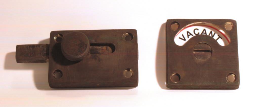antique bathroom lock, distressed brass indicator lock