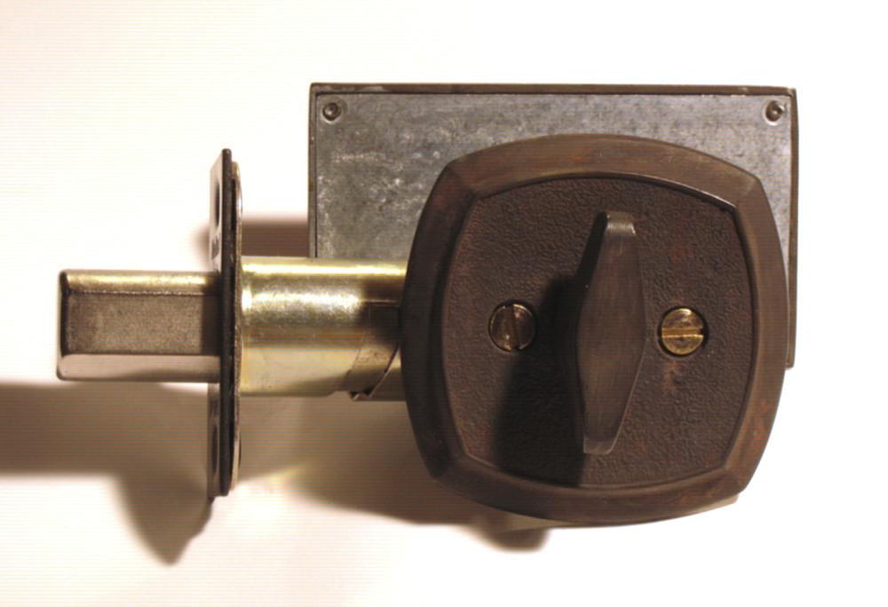 distressed brass occupied door lock