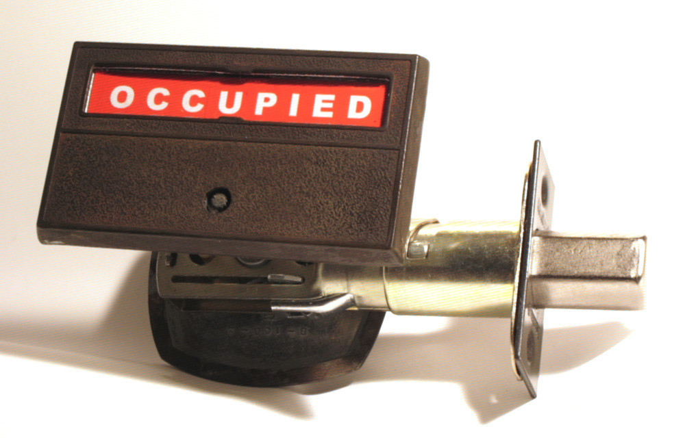 distressed brass bathroom indicator