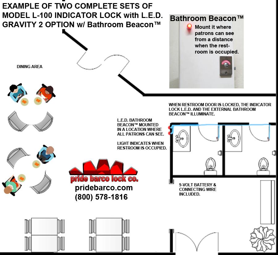 bathroom beacon, led occupied, restroom occupancy light
