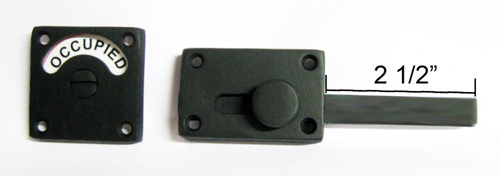 2 3/4 backset bathroom indicator lock, flat black indicator lock