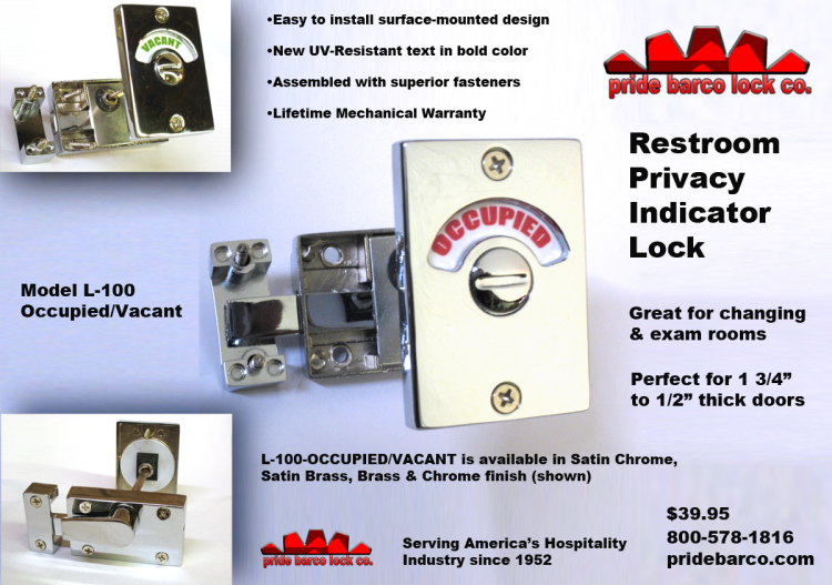 Restroom Privacy Lock, Occupancy Indicator Latch, Vacant occupied door lock, Privacy indicator lock, indicator lock