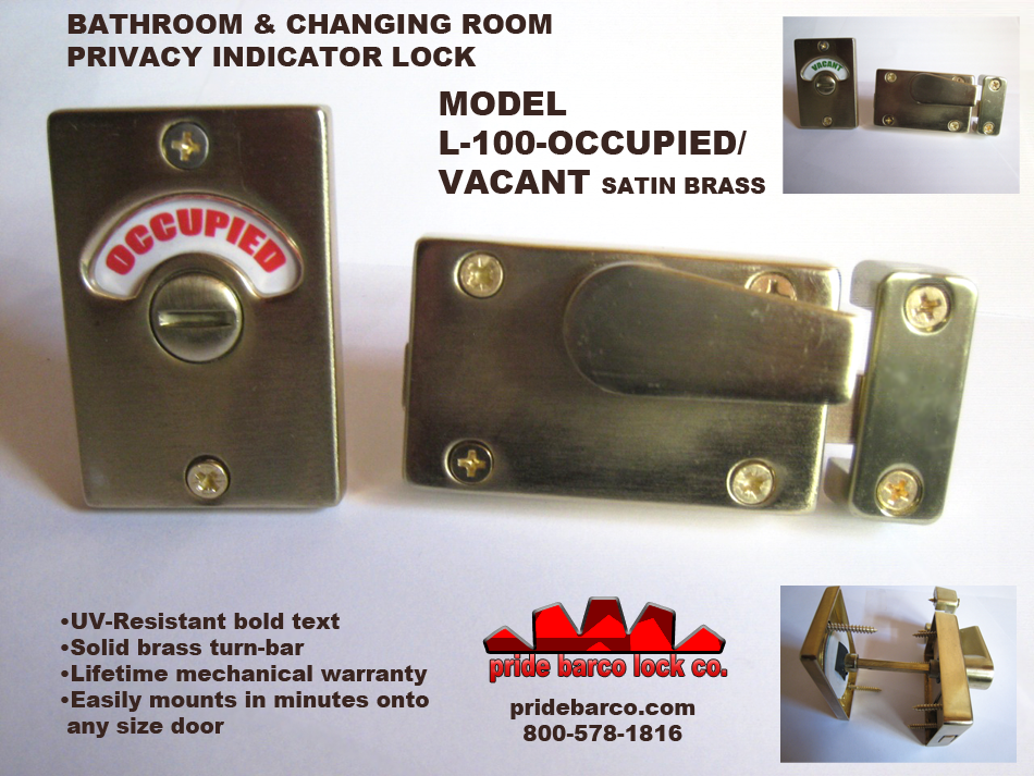 Unisex Restroom Privacy Lock, Surface Mounted indicator lock, satin brass privacy lock, occupied door lock