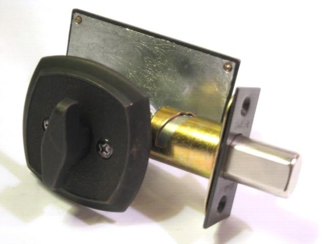 occupancy indicator deadbolt lock, occupancy indiactor deadbolt, restroom privacy lock, antique bronze bathroom lock