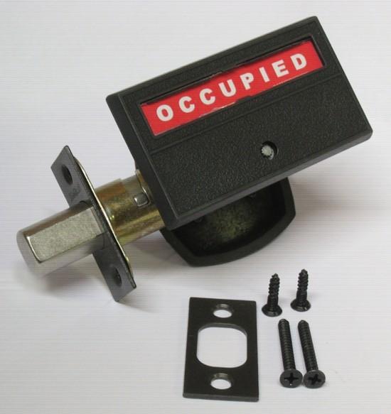 occupancy indicator deadbolt, vacant occupied lock, bathroom privacy lock, indicator lock restroom