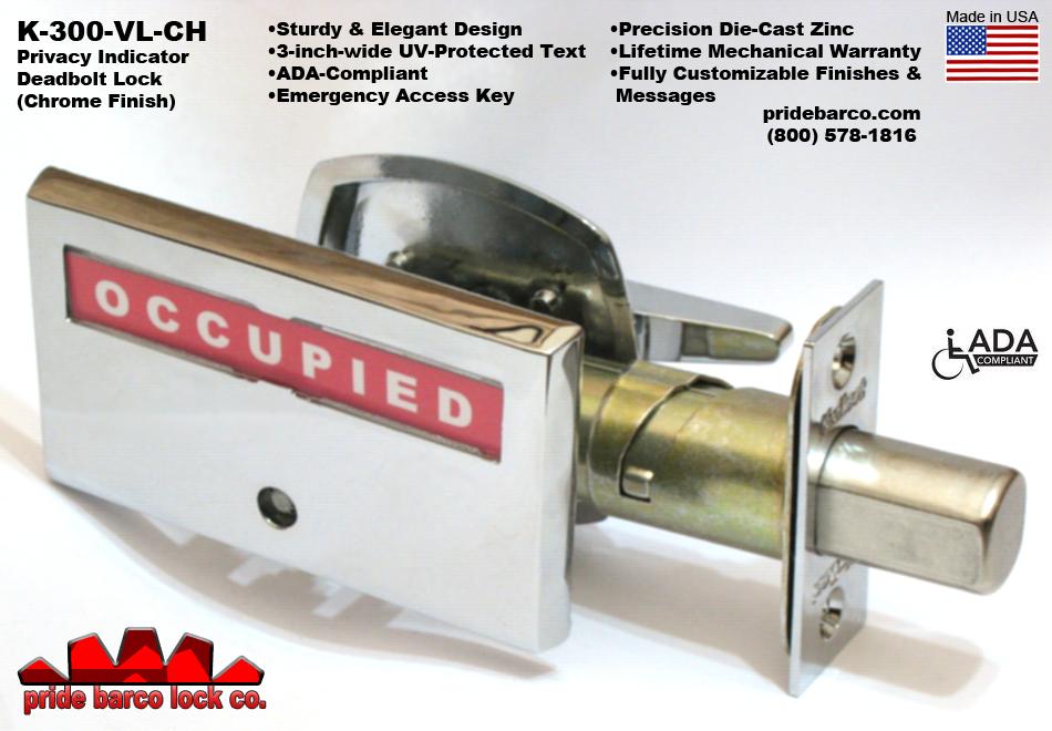 privacy indicator deadbolt, occupied vacant door lock, restroom privacy indicator, security deadbolt, made in usa