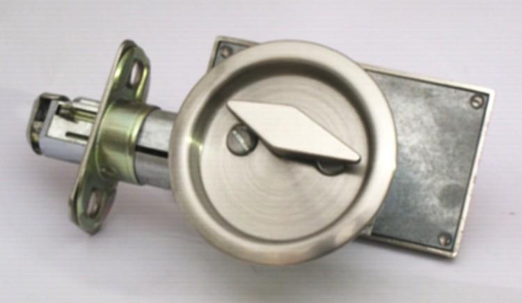 pocket door privacy lock, occupied vacant sliding door lock, satin nickel pocket door lock