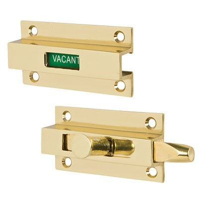 brass indicator bolt vacant, sliding indicator lock bathroom, brass sliding indicator stall doors