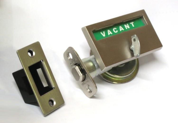 sliding pocket door indicator lock, bathroom pocket door vacant occupied, privacy lock for pocket door