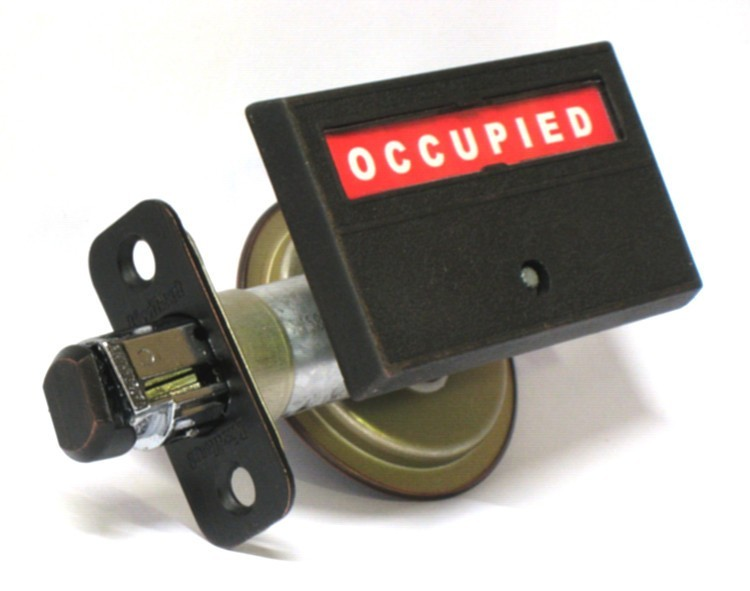 pocket door indicator lock, privacy lock for pocket door, barn door occupied vacant deadbolt