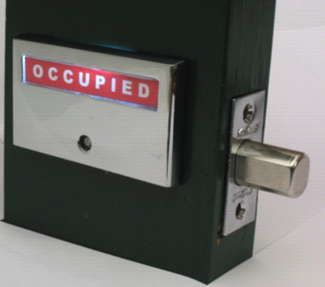bathroom indicator lock with light occupied, LED lit occupied restroom lock, ADA compliant L.E.D. occupied vacant deadbolt lock