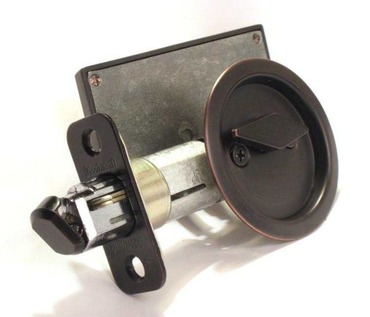 pocket door privacy lock, dark bronze indicator lock