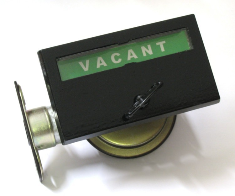 black bathroom privacy indicator, black pocket door lock, black pocket door indicator lock