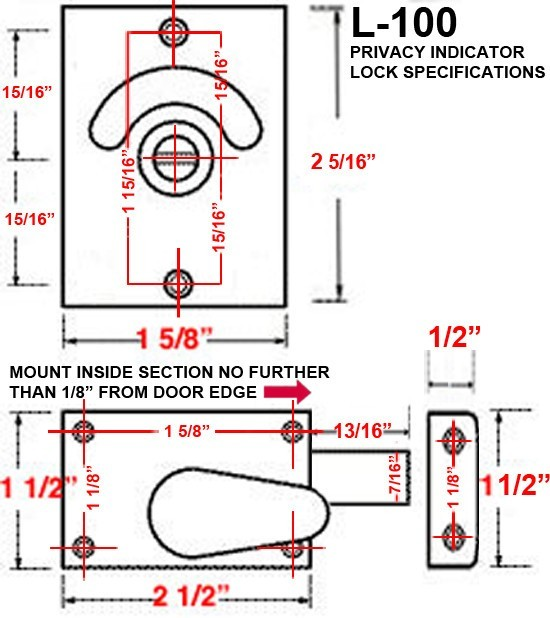 dimensions indicator bolt, L-100 specs, bathroom indicator bolt specs
