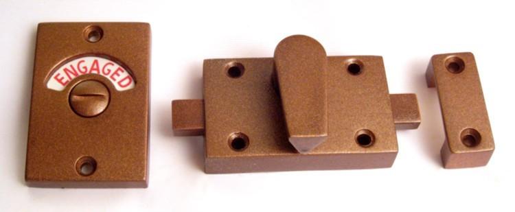 vintage copper bathroom lock, copper bathroom indicator