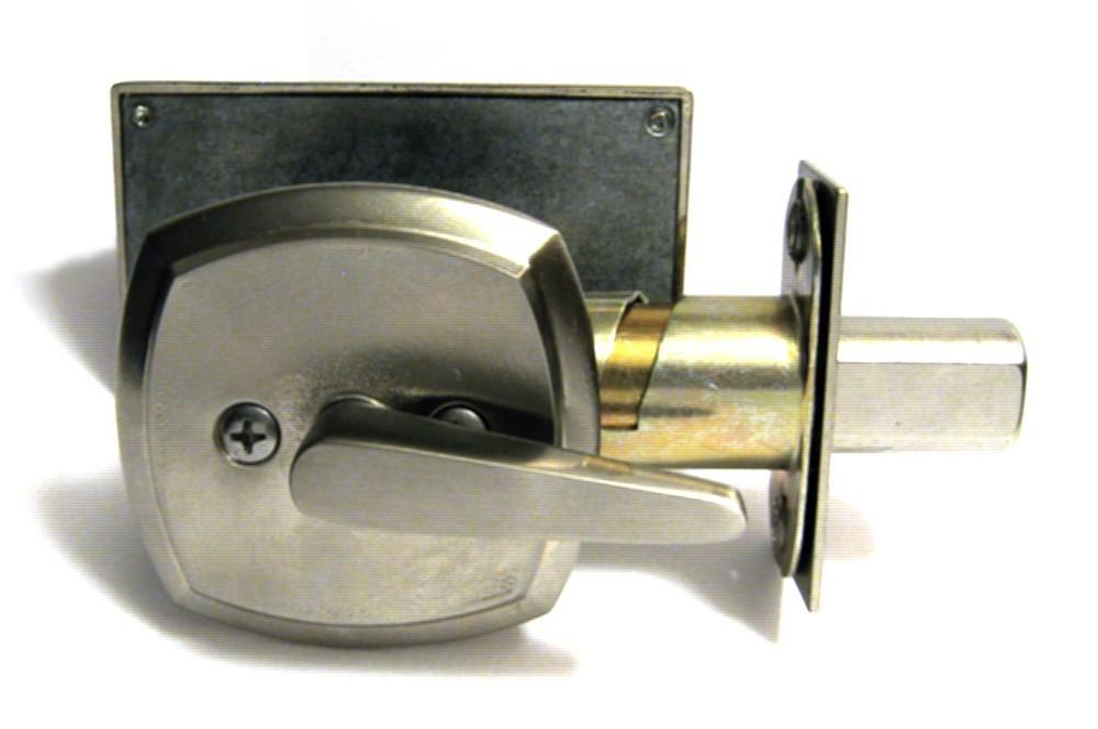 satin nickel restroom door lock indicator