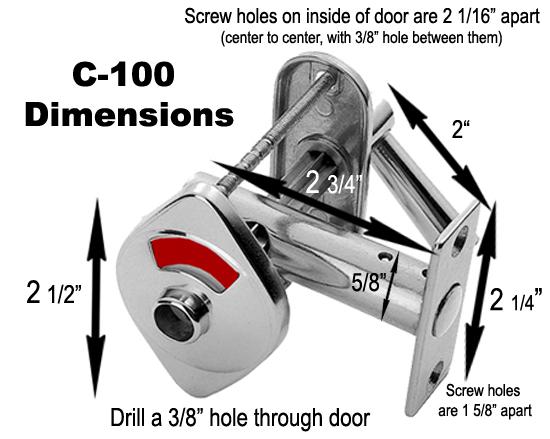 indicator lock, red/white indicator, bathroom door lock