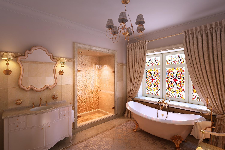 Дизайн интерьера ванной комнаты в классическом стиле Хабаровск