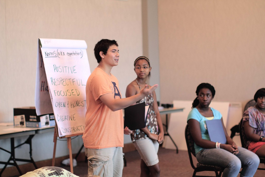Youth introducing norms in a training of young people