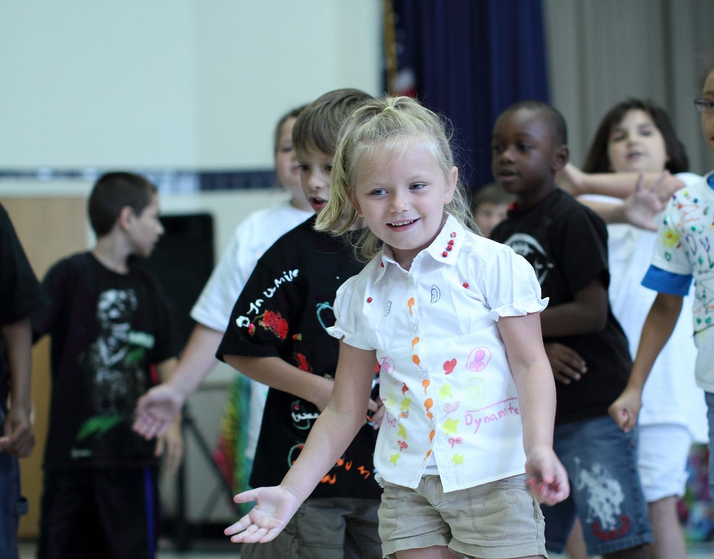 Student participating in a physical fitness activity