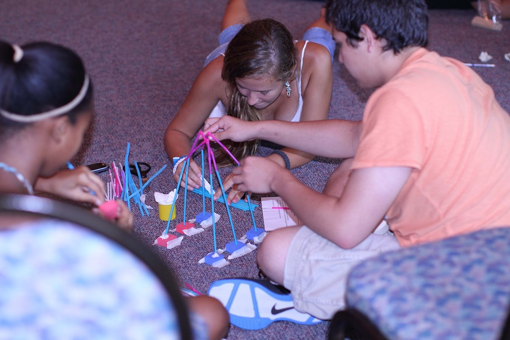 Student participating in STEM activity