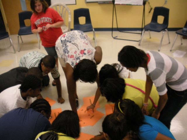 Students participate in teambuilder