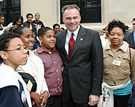 Youth with Senator after winning Harris Wofford Award