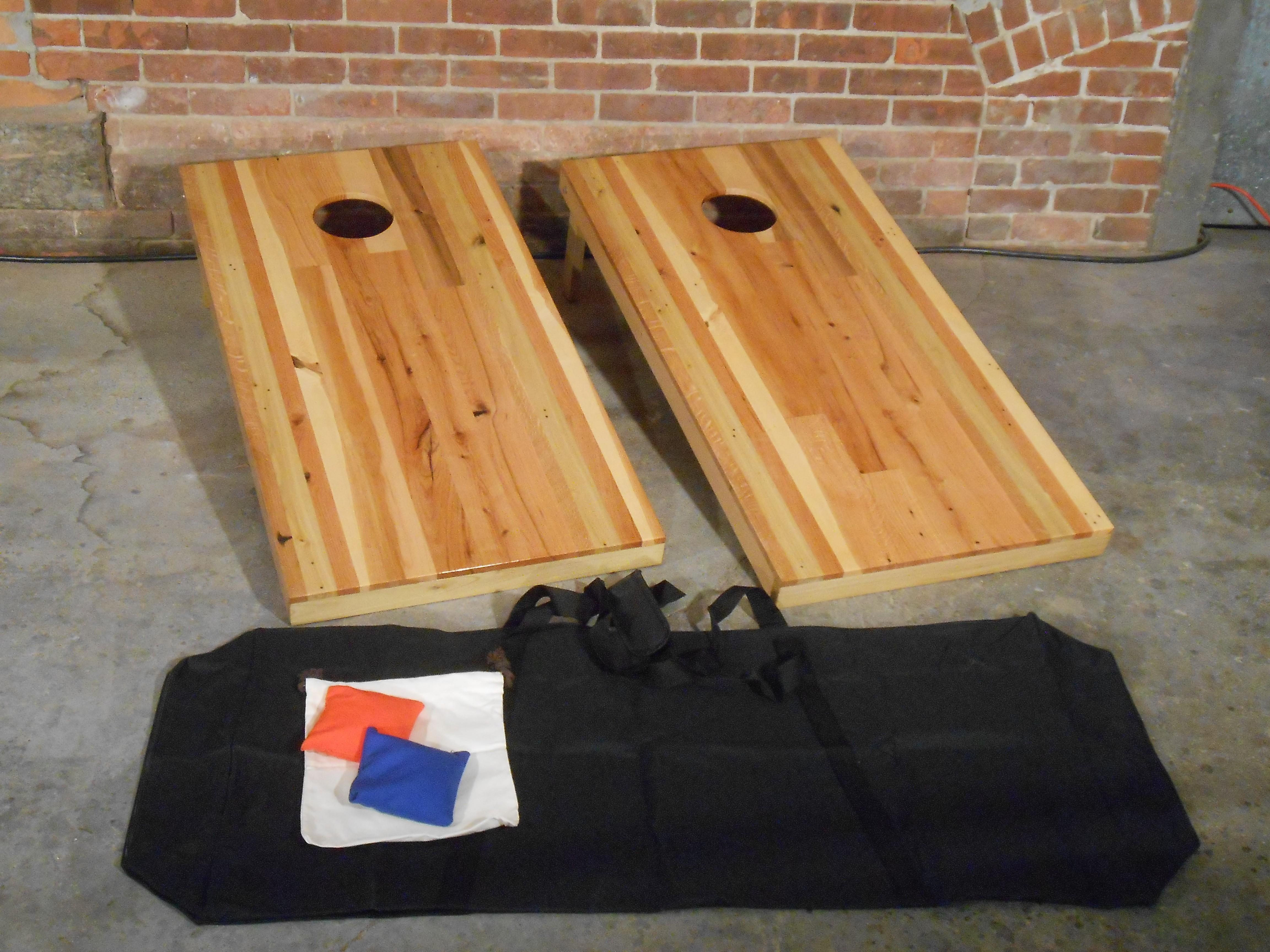 Cornhole beanbag toss hardwood pallet wood deluxe II