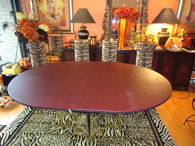 Oval Table Extension Pad Over the Round Glass TAble