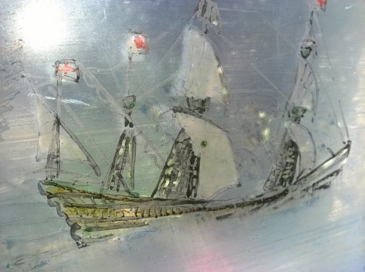sailing ship, glass painting, British historic