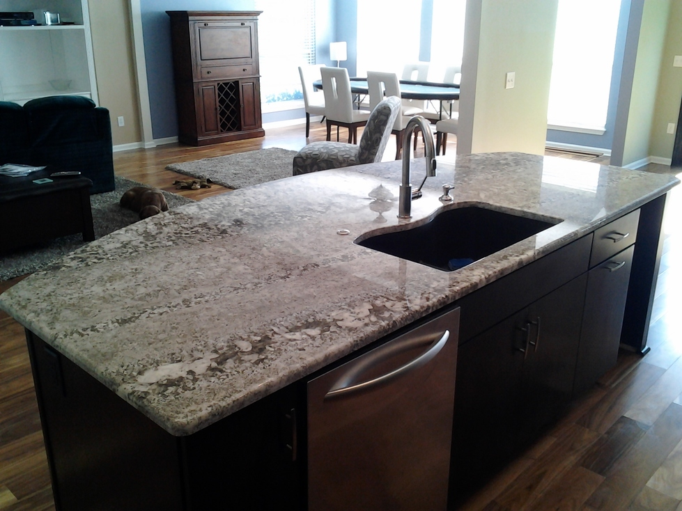 Curved Kitchen Island by Woodworks Cabinetry