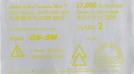 Medium voltage rubber mat label Malaysia