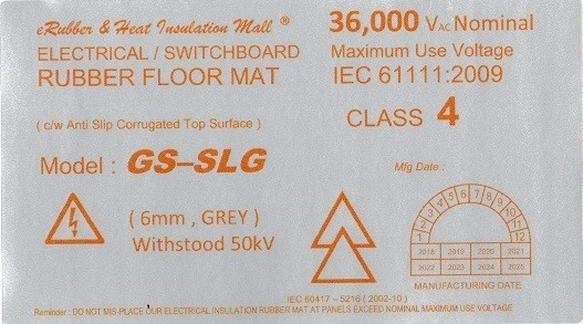 high voltage GS-SLG rubber mat label Malaysia